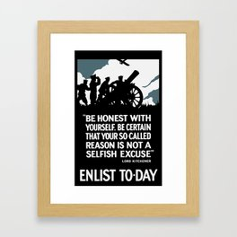 Enlist To-Day - Lord Kitchener WWI Framed Art Print