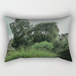 Warwick Castle Bathed in Green Light Rectangular Pillow