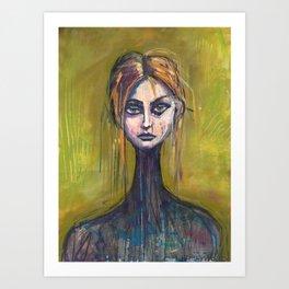 WOMAN ON GREEN Art Print