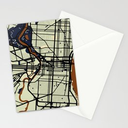 Philadelphia Street Map // Orange Theme Stationery Cards