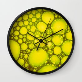 Yellow Oil Blobs on Water Wall Clock