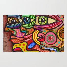 Abstract Folk Art People Painting Rug