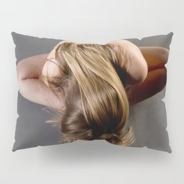 1784s-MS Seated Blond Woman Implied Nude Pillow Sham