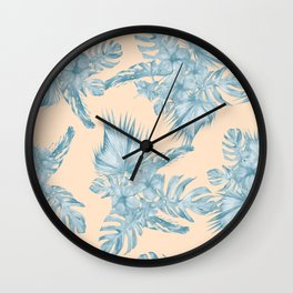Tropical Flowers and Leaves Blue on Peach Coral Wall Clock
