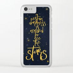 Darkness-Stars - sparkling night gold glitter typography Clear iPhone Case