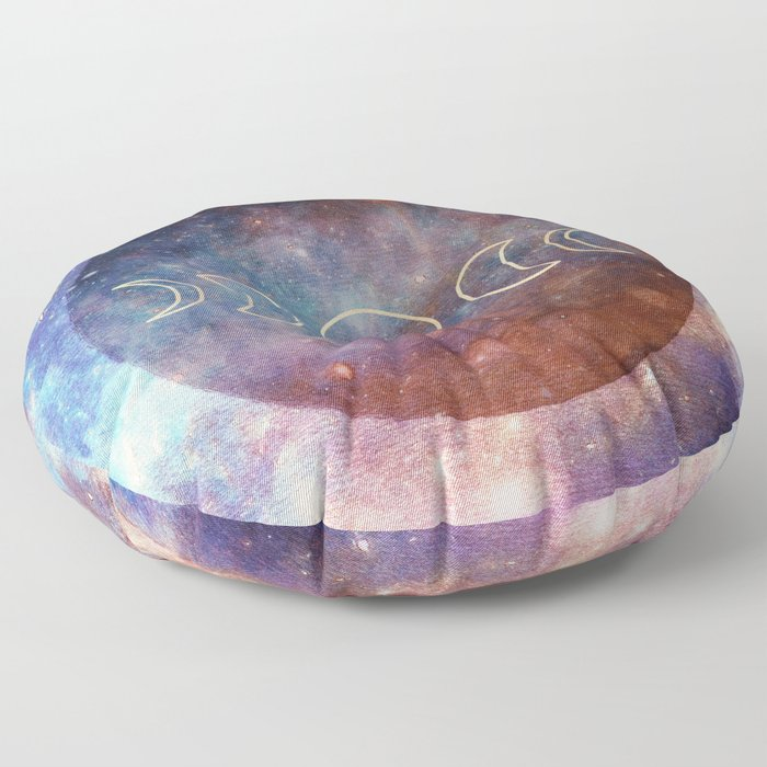 Moon Phases Rose Gold Mandala Floor Pillow