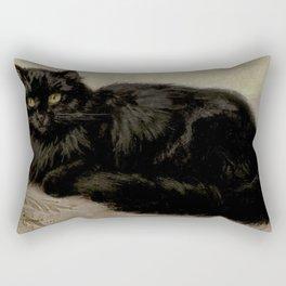 Vintage Painting of a Black Cat (1903) Rectangular Pillow