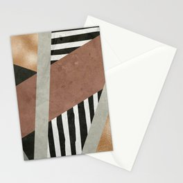 Abstract Geometric Composition in Copper, Brown, Black Stationery Cards