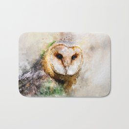 Watercolor Barn Owl Bath Mat