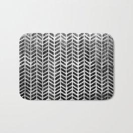 Herringbone & Teak (Black & White) Bath Mat