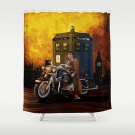 10th Doctor who with Big Motorcycle Shower Curtain
