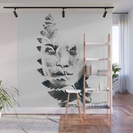 Portrait of woman(leaves) Wall Mural