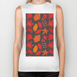 Red autumn leaves Biker Tank