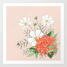 Cosmos and Dahlia on Pink Art Print