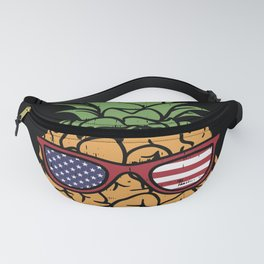 Funny 4th Of July US Flag Pineapple Fanny Pack