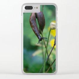 slug dancing on a poppy Clear iPhone Case
