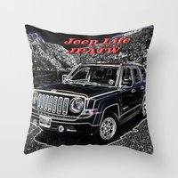jeep Throw Pillows featuring JEEP JPATW by Dmarmol
