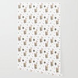 Girl and Deer - white Wallpaper