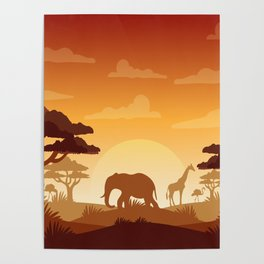 Abstract African Safari Poster