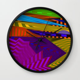 Fancy neon landscap with stylised violet mountains, sea and Sun. Wall Clock