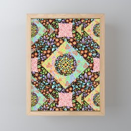 Boho Chic Patchwork Framed Mini Art Print