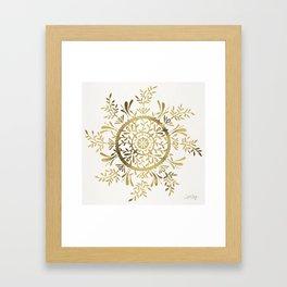 Leaf Mandala – Gold Palette Framed Art Print