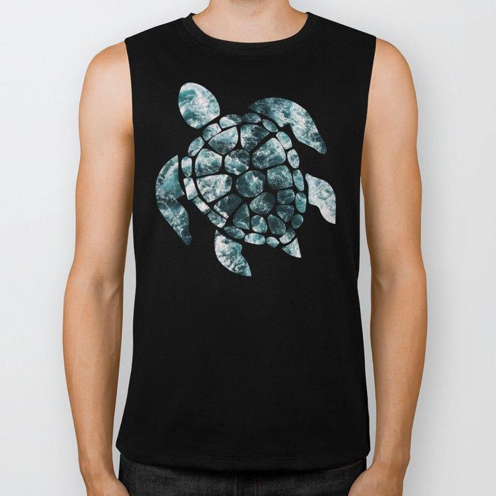 Sea Turtle - Turquoise Ocean Waves Biker Tank