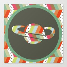 retro pattern and planet 1 Canvas Print