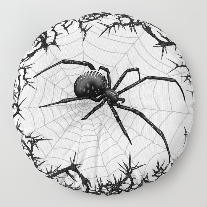 Briar Web- Black and White Floor Pillow