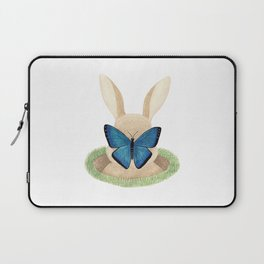 Butterfly resting on a bunny's nose Laptop Sleeve