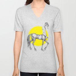 Young centaur with headphones and mp3 player Unisex V-Neck