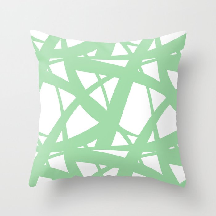 Pastel Green & White Abstract Mosaic Pattern 3  Pairs To 2020 Color of the Year Neo Mint 065-80-23 Throw Pillow