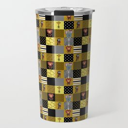 Jungle Friends Mustard & Black Cheater Quilt Hand-Painted Jungle Animals Travel Mug