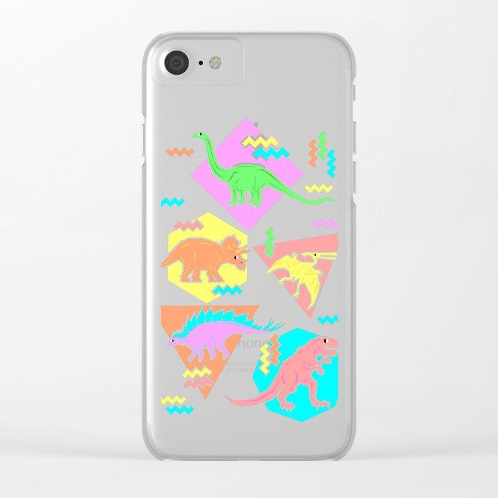 Nineties Dinosaur Pattern Clear iPhone Case