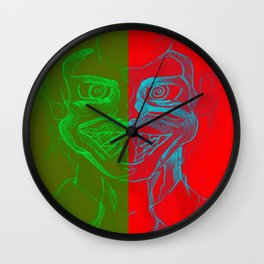 Split Personality; The Joker and Two Face Wall Clock