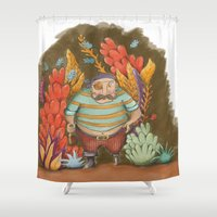 pirate Shower Curtains featuring Pirate by Goretti Asla