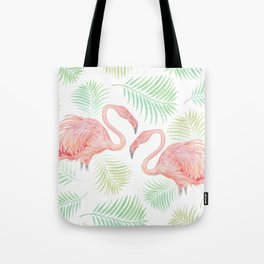 Flamingo Watercolour | Tropical Print | Palm Tree Leaves | Birds | Animals | Painting Tote Bag