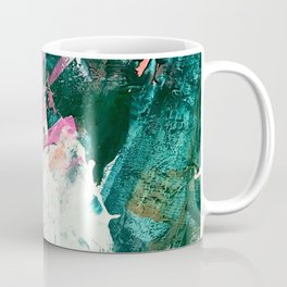Meditate [5]: a vibrant, colorful abstract piece in bright green, teal, pink, orange, and white Coffee Mug