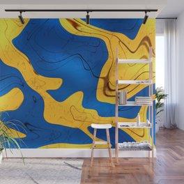 Blue & Yellow abstract #yellow #blue #wallart Wall Mural