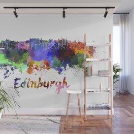 Edinburgh  skyline in watercolor Wall Mural