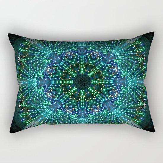 Kaleidoscope fantasy on lighted peacock shape Rectangular Pillow