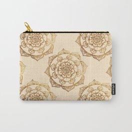 Golden Mandalas on Cream Carry-All Pouch