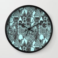 alphabet Wall Clocks featuring Alphabet by Clare Corfield Carr