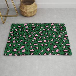 Leopard Print - green and pink Rug