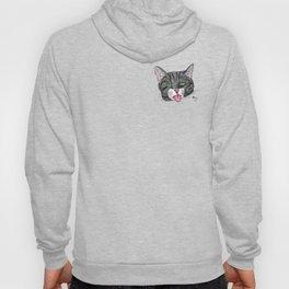 Grey Tabby Cat Face Hoody