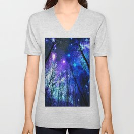 black trees purple blue space Unisex V-Neck
