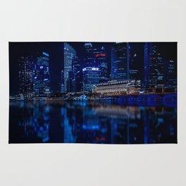 Singapore Skyline At Night Rug