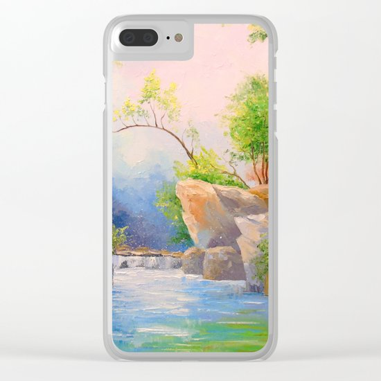 Waterfall in the woods Clear iPhone Case