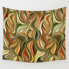 Boho Green & Red Wave Pattern Wall Tapestry