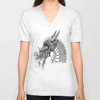 dragon V-neck T-shirts featuring Dragon by Elisa Camera